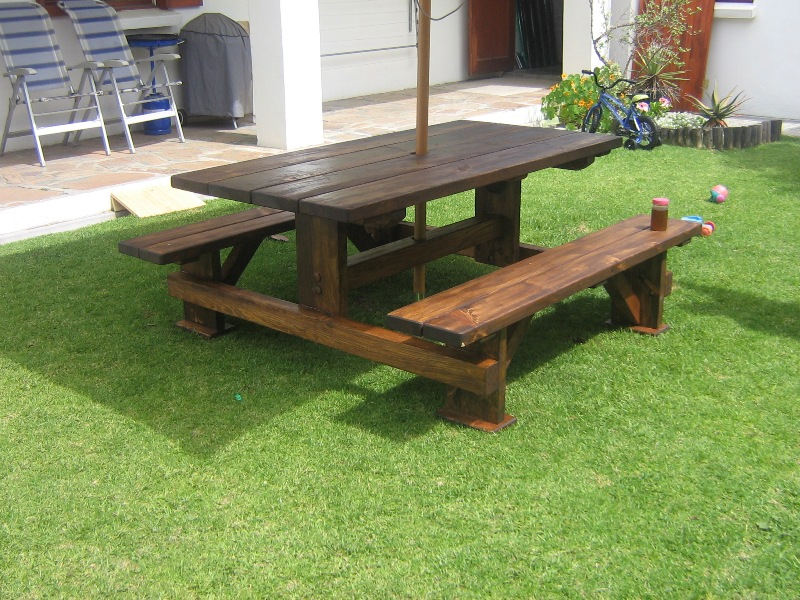 Stained Pine Table Bench Set.JPG