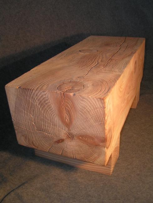 Sandblasted Solid Stone Pine Coffee Table.JPG