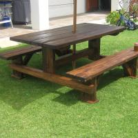 Stained Pine Table-Bench Set.JPG